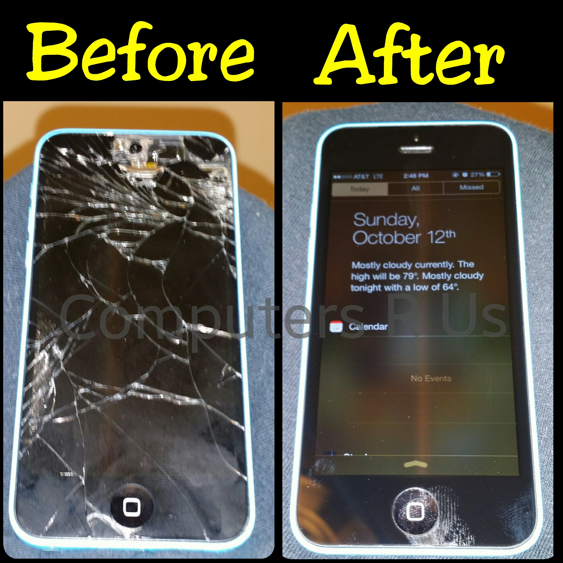 Iphone 5C Glass Replaced - Before/After