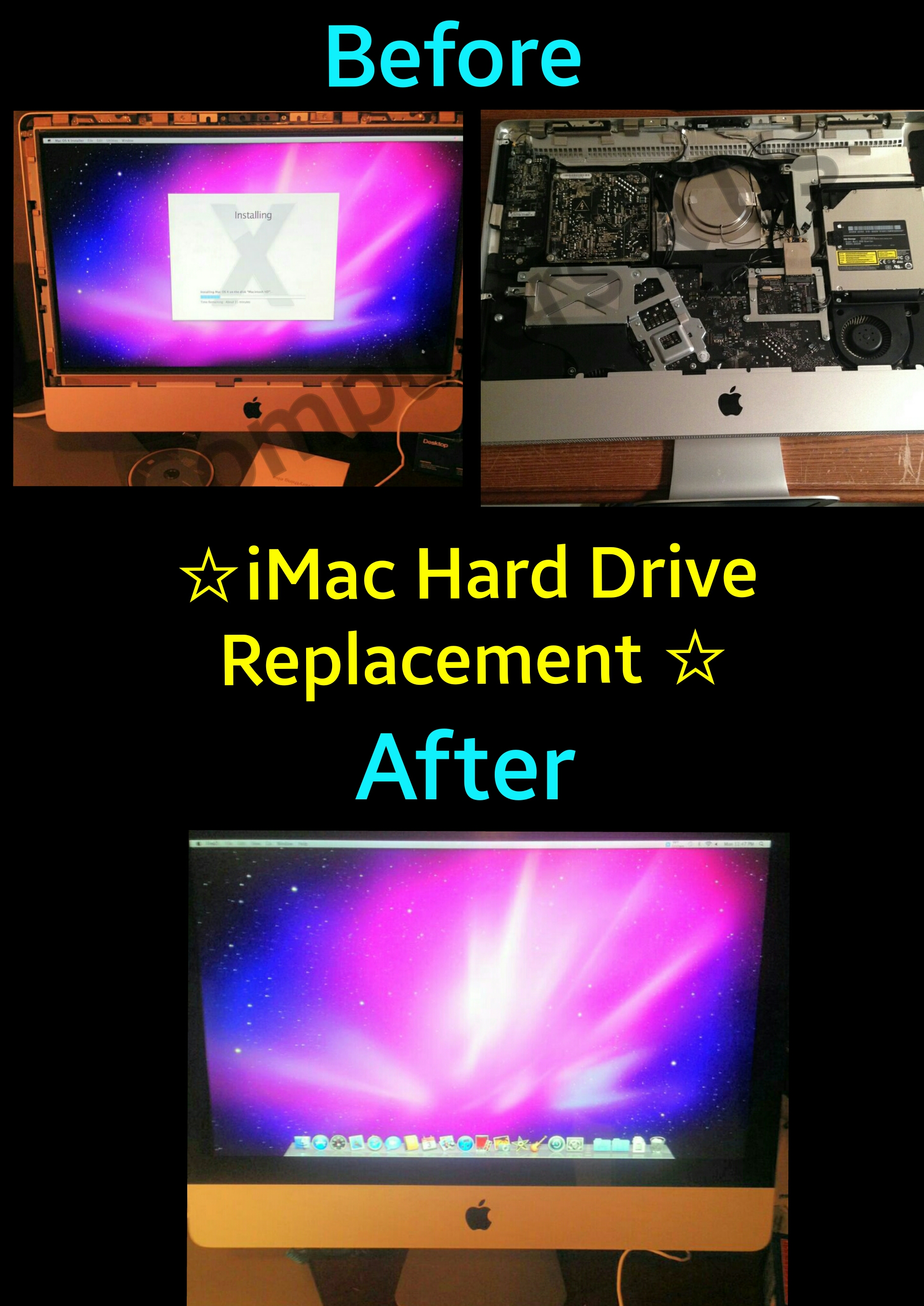 iMac Hard Drive Replacement - Before/After