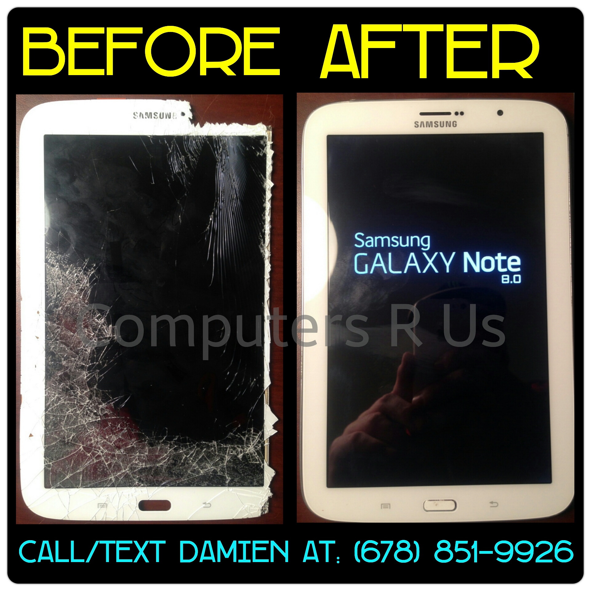 Samsung Note 8.0 Glass Replaced - Before/After
