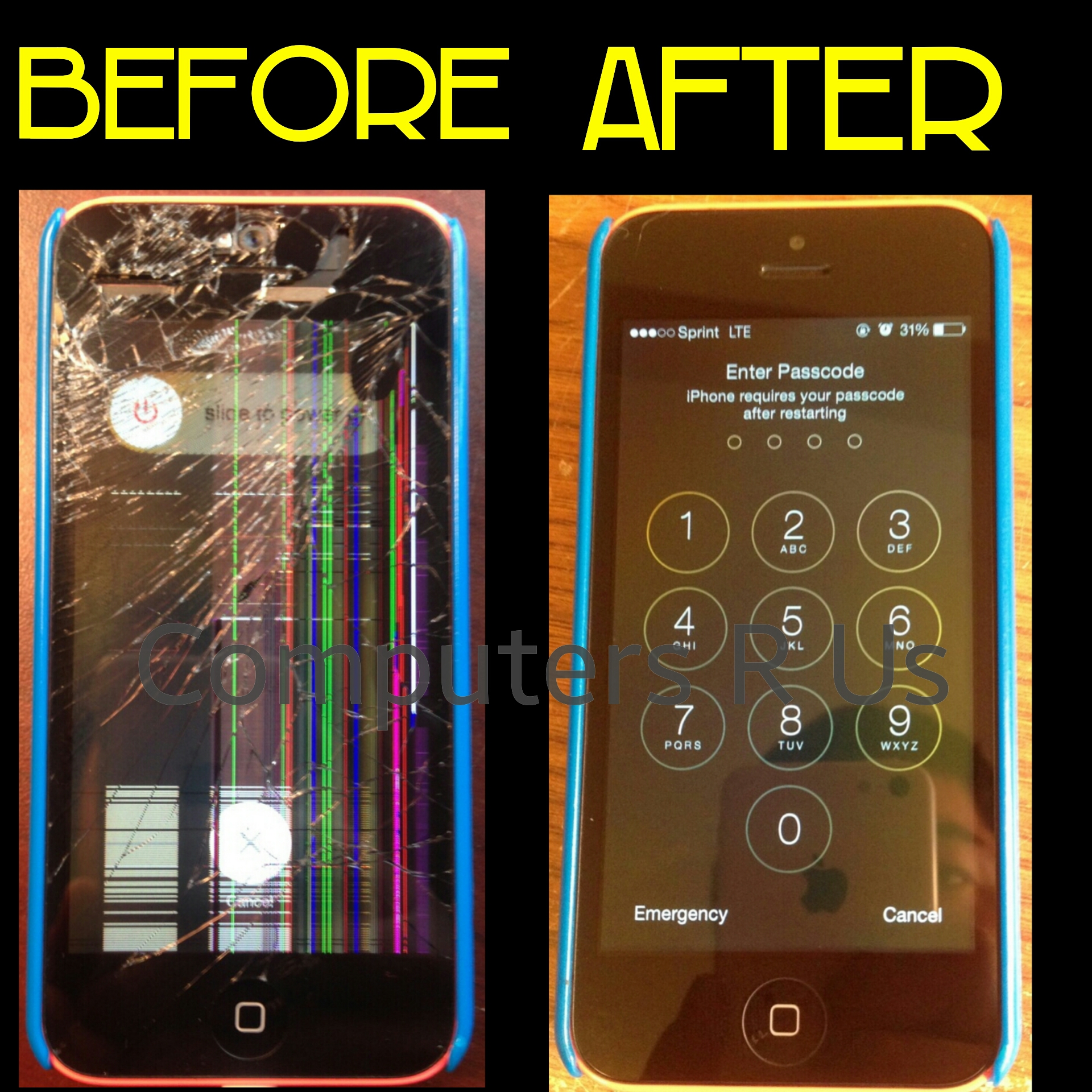 iPhone Glass and Screen Replaced - Before/After