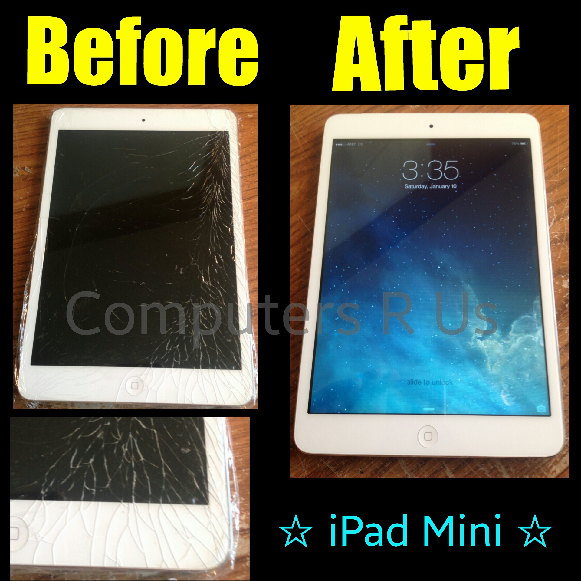 iPad Mini Glass Replaced - Before/After
